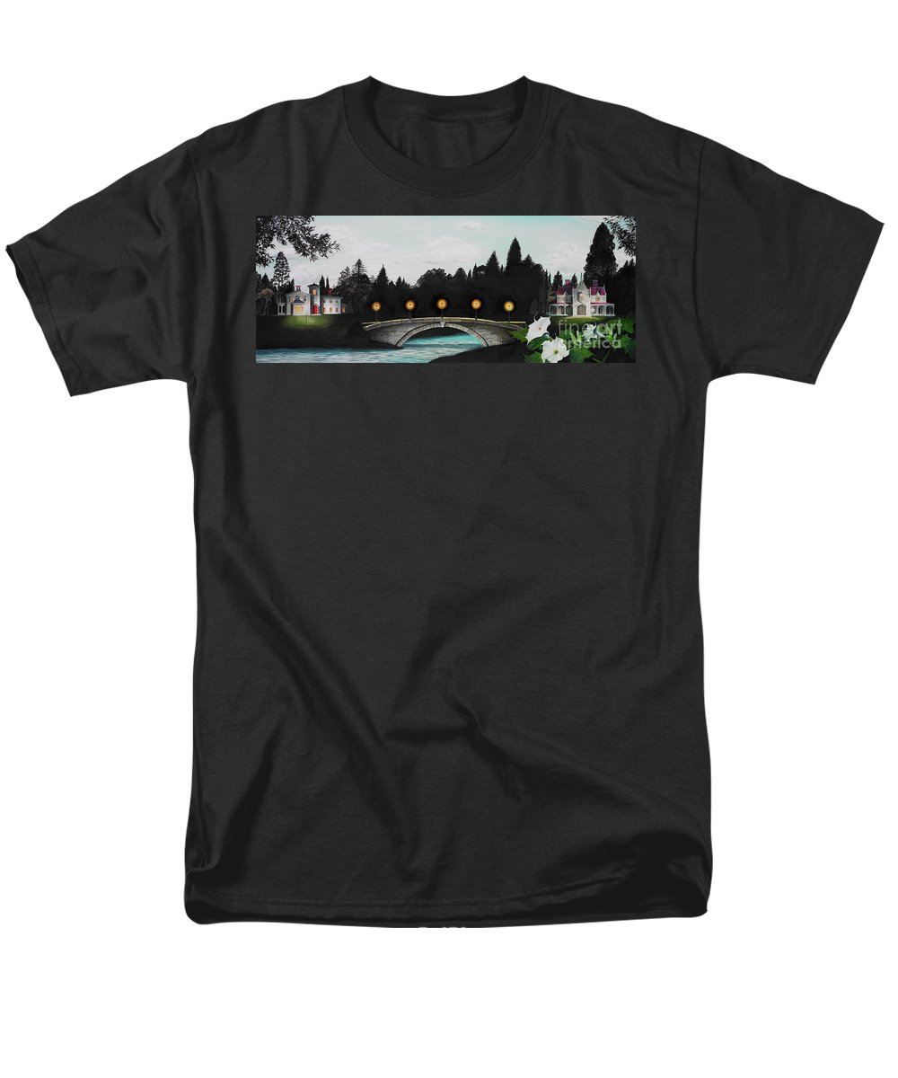 Architecture Men's T-Shirt (Regular Fit) featuring the painting Night Bridge by Melissa A Benson