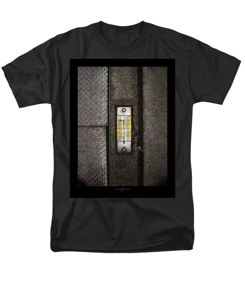 Numbers Men's T-Shirt (Regular Fit) featuring the photograph Numbers on the Sidewalk by Tim Nyberg