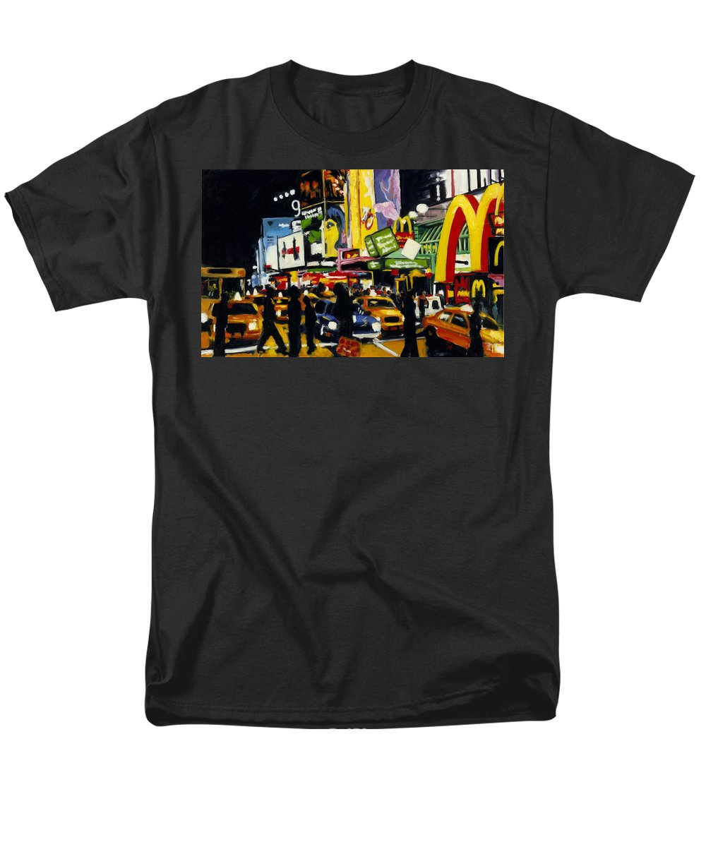 New York Men's T-Shirt (Regular Fit) featuring the painting Nyc II The Temple Of M by Robert Reeves