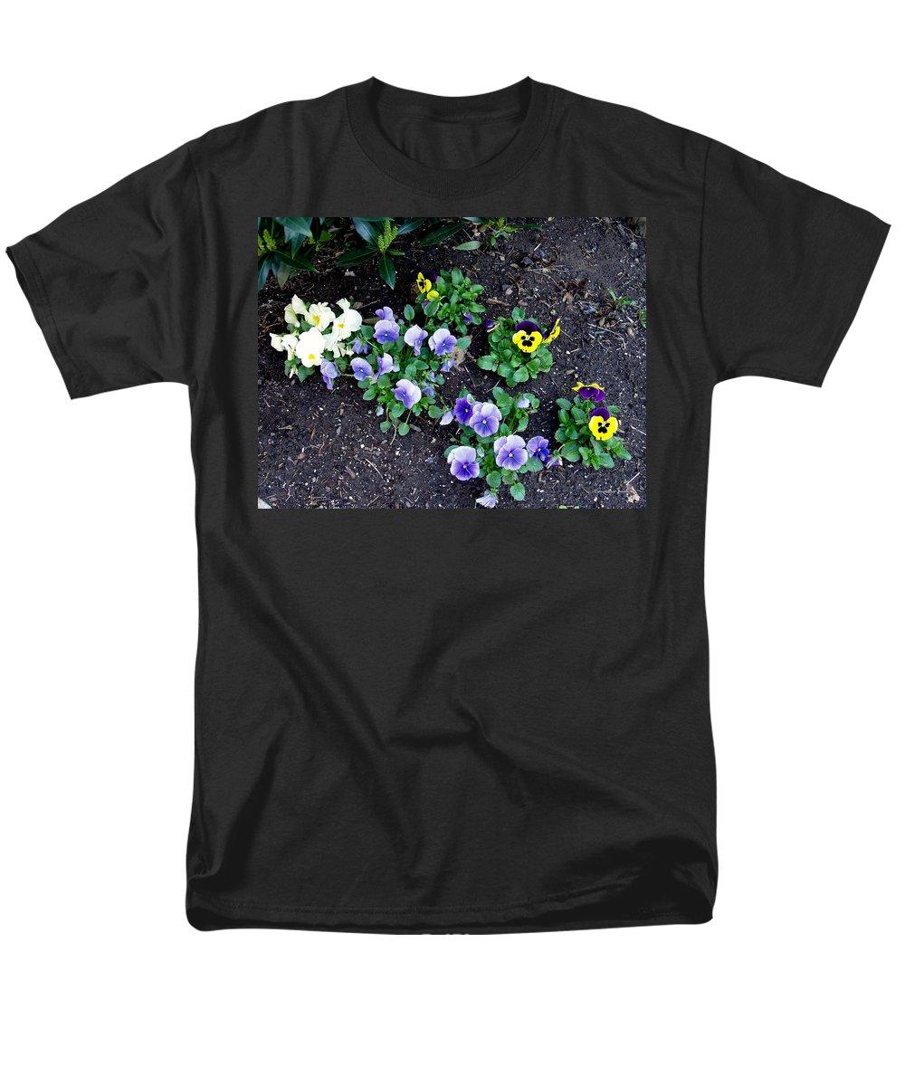 Flowers Men's T-Shirt (Regular Fit) featuring the photograph Pansies by Deborah Crew-Johnson