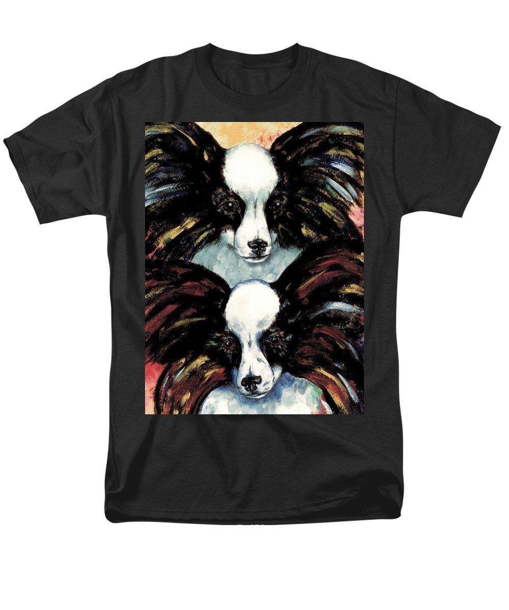 Papillon Men's T-Shirt (Regular Fit) featuring the painting Papillon De Mardi Gras by Kathleen Sepulveda