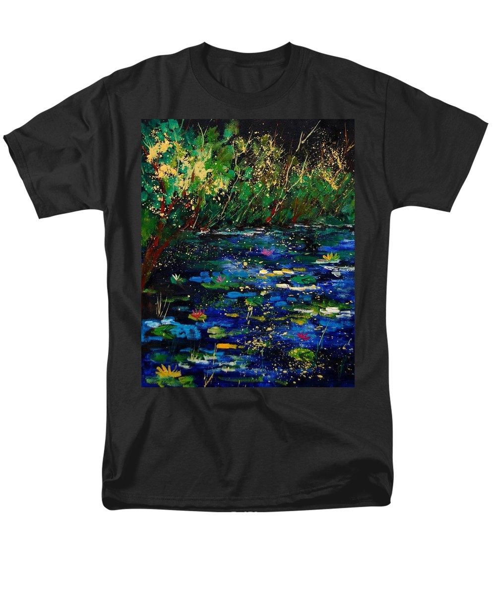 Water Men's T-Shirt (Regular Fit) featuring the painting Pond 459030 by Pol Ledent