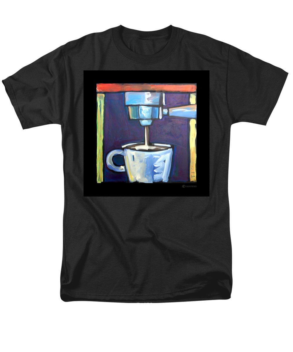 Coffee Men's T-Shirt (Regular Fit) featuring the painting Pulling A Shot by Tim Nyberg