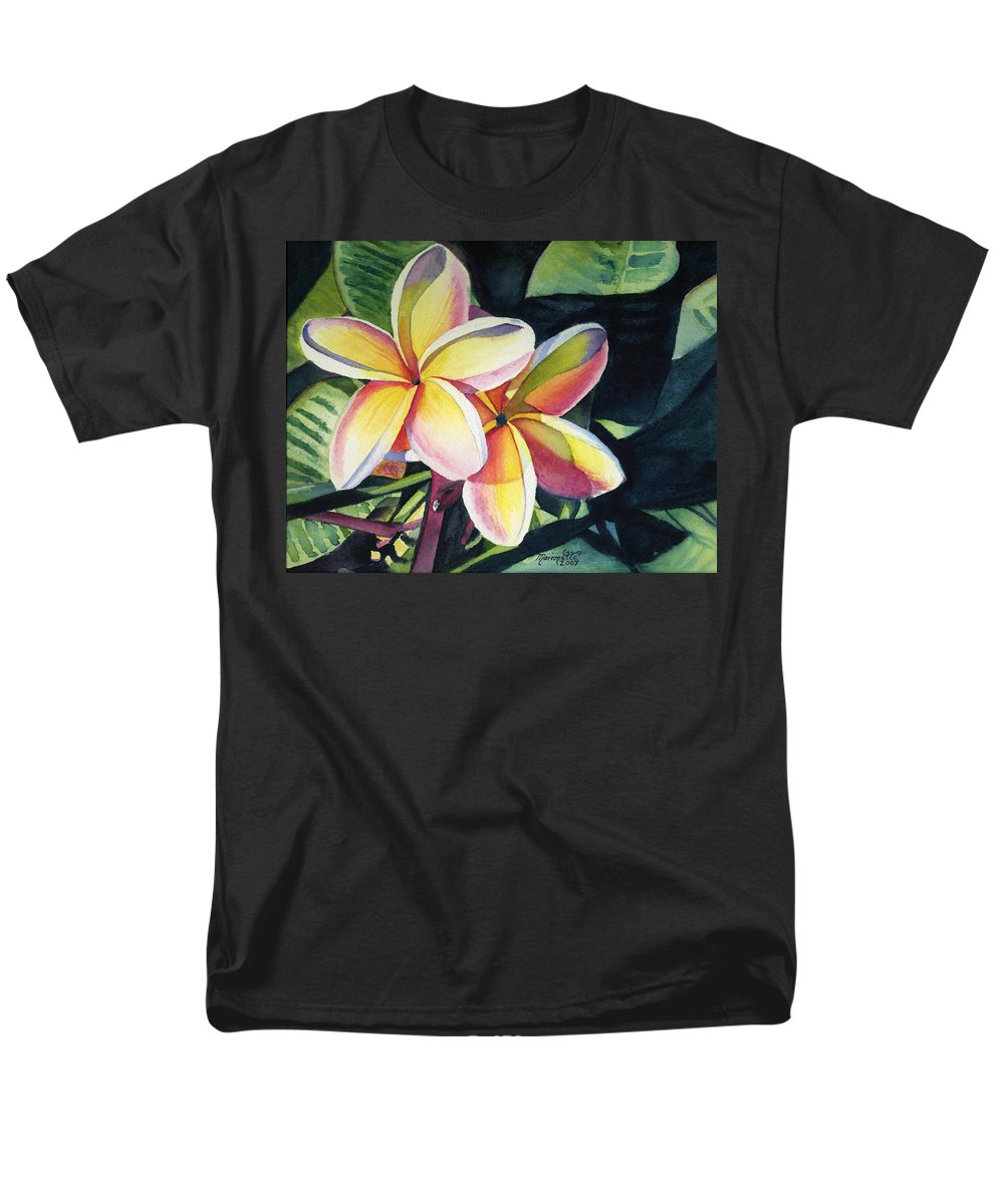 Rainbow Men's T-Shirt (Regular Fit) featuring the painting Rainbow Plumeria by Marionette Taboniar