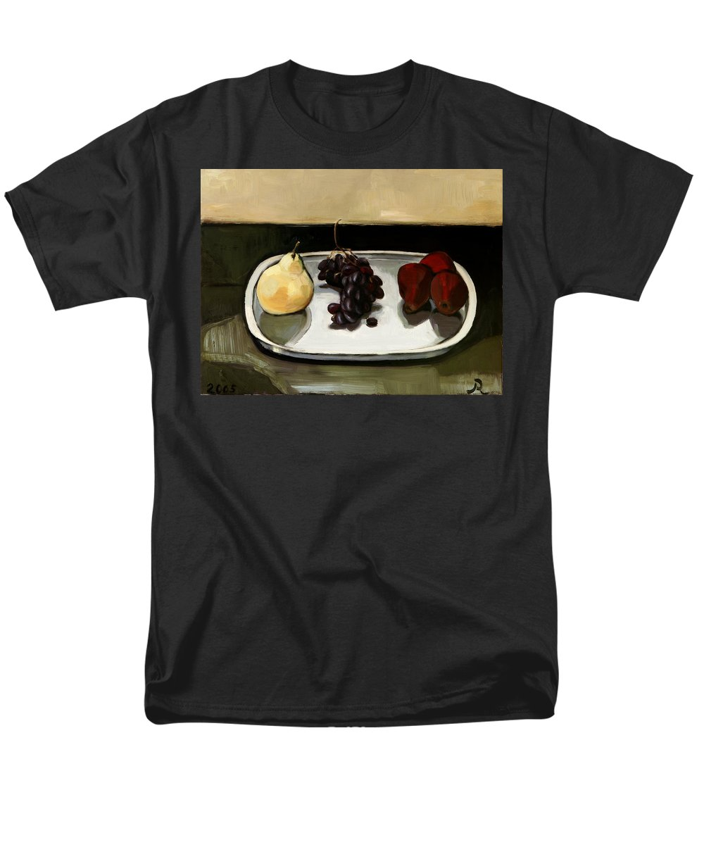 Still-life Grapes Pears Men's T-Shirt (Regular Fit) featuring the painting Red Pears by Raimonda Jatkeviciute-Kasparaviciene