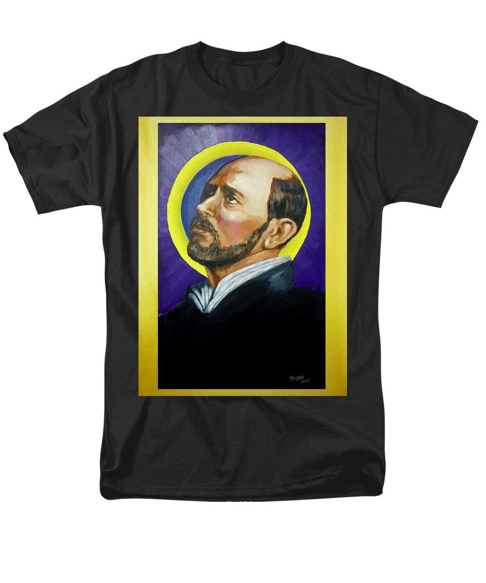 Saint Men's T-Shirt (Regular Fit) featuring the painting Saint Ignatius Loyola by Bryan Bustard