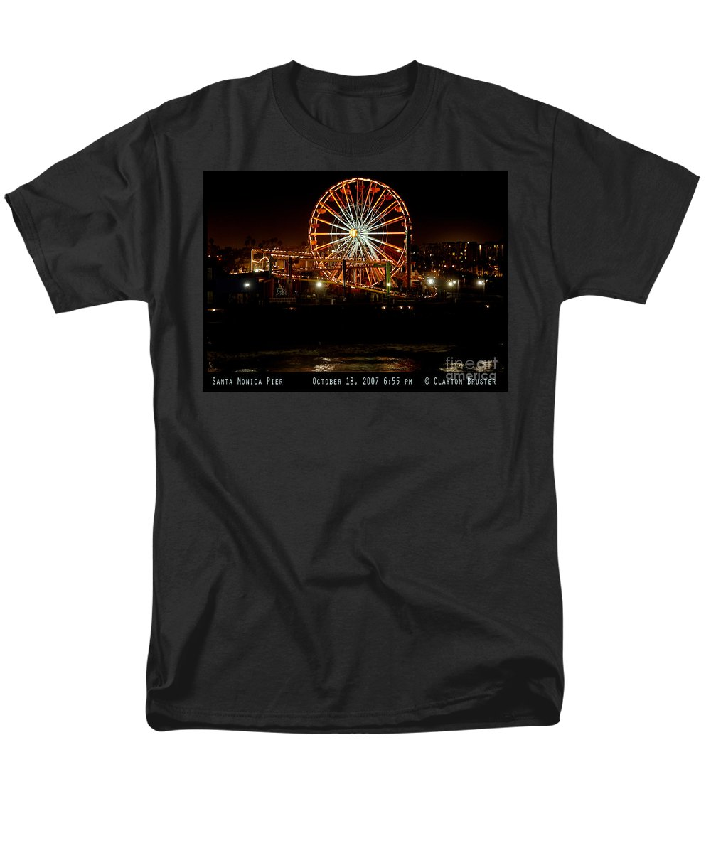 Clay Men's T-Shirt (Regular Fit) featuring the photograph Santa Monica Pier October 18 2007 by Clayton Bruster