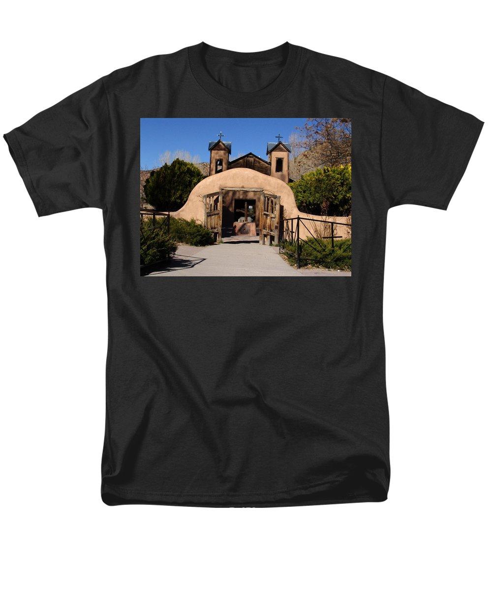 Church Men's T-Shirt (Regular Fit) featuring the photograph Santuario De Chimayo Adobe Chapel by Carol Milisen