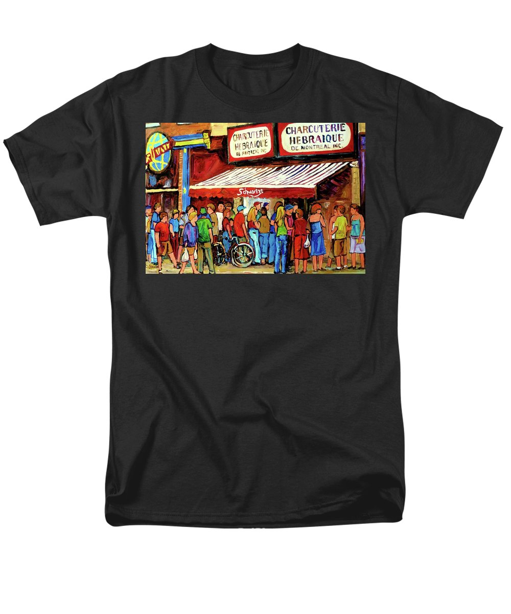 Schwartz Deli Men's T-Shirt (Regular Fit) featuring the painting Schwartzs Deli Lineup by Carole Spandau
