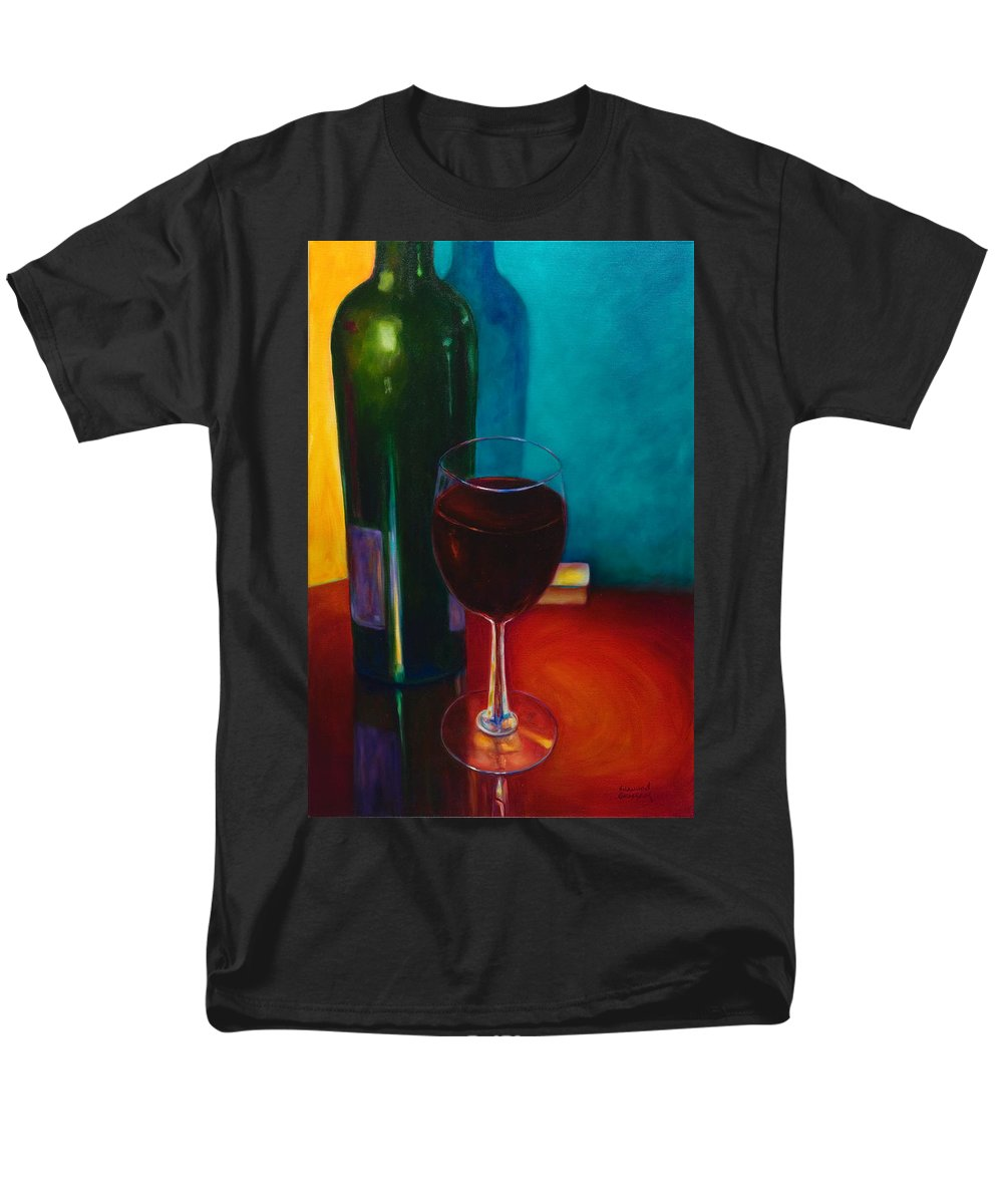 Wine Bottle Men's T-Shirt (Regular Fit) featuring the painting Shannon's Red by Shannon Grissom