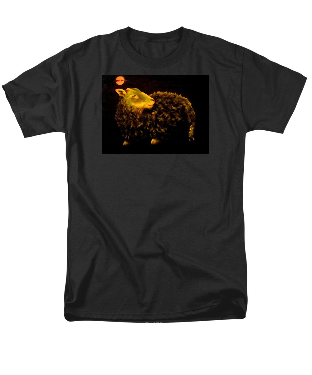 Sheep Men's T-Shirt (Regular Fit) featuring the painting Sheep at Night by Mark Cawood