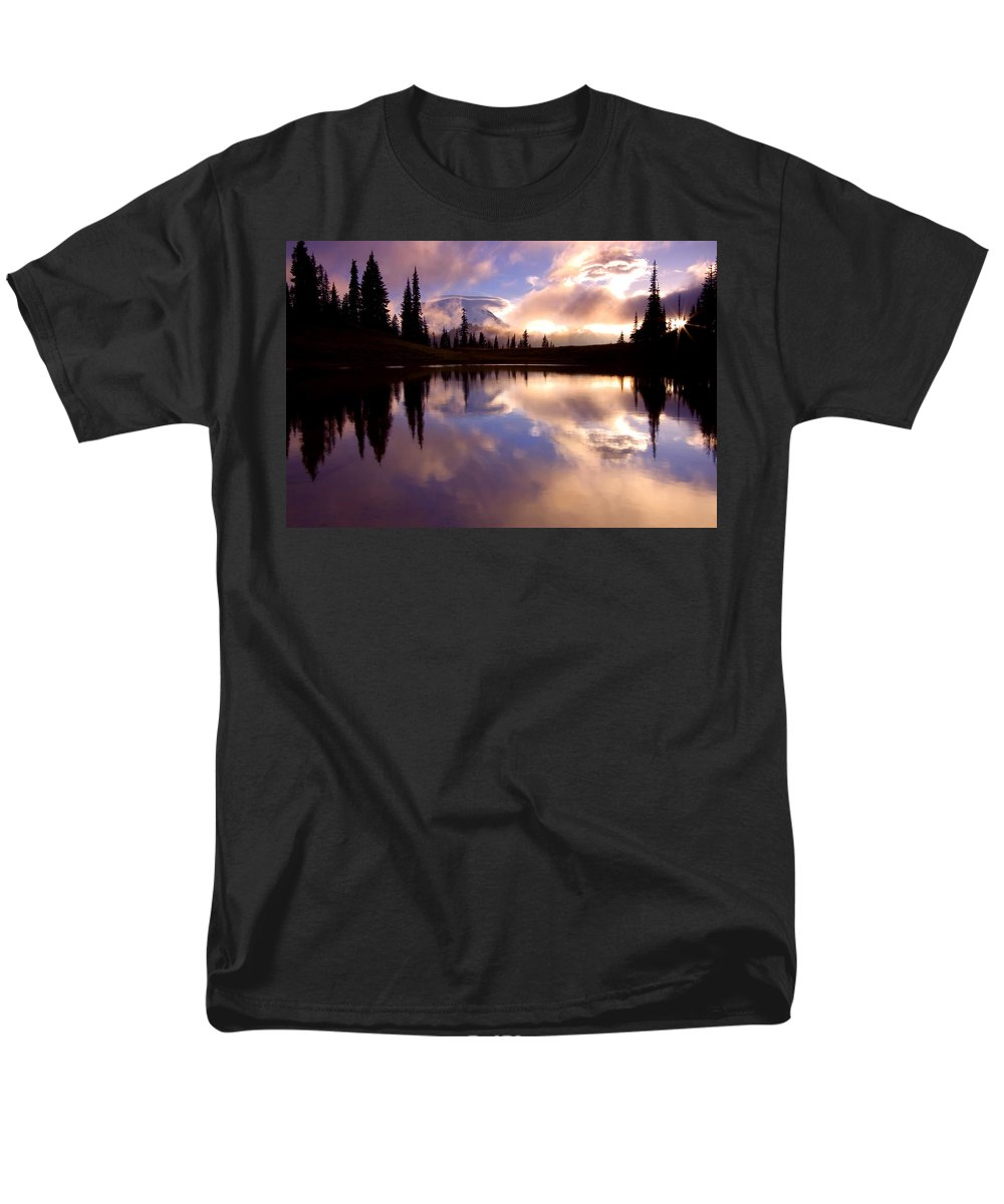 Rainier Men's T-Shirt (Regular Fit) featuring the photograph Shrouded in Clouds by Mike Dawson