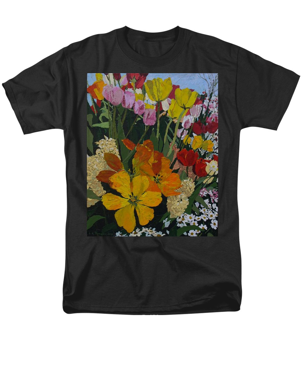Floral Men's T-Shirt (Regular Fit) featuring the painting Smith's Bulb Show by Leah Tomaino