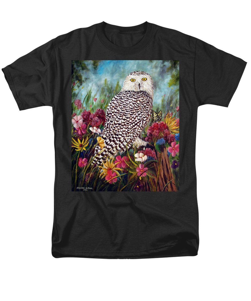 Owl Men's T-Shirt (Regular Fit) featuring the painting Snowy Owl by David G Paul