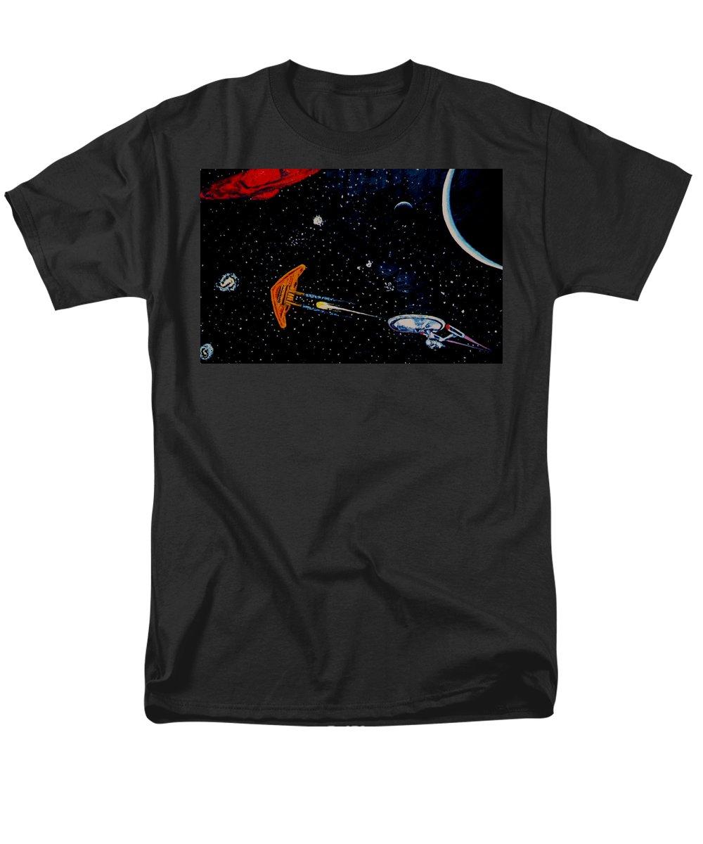 Startrel.scoemce Foxopm.s[ace.[;amets.stars Men's T-Shirt (Regular Fit) featuring the painting StarTrek by Stan Hamilton