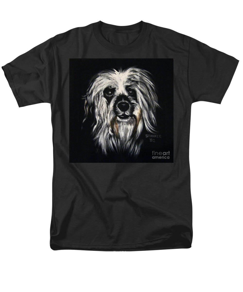 Dog Men's T-Shirt (Regular Fit) featuring the painting Stinker by Sherry Oliver