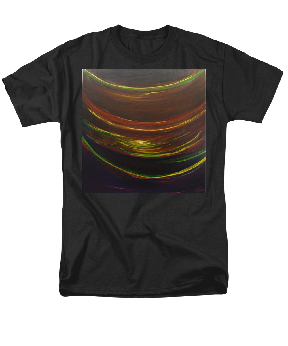 Rainbow Red Yellow Obama Men's T-Shirt (Regular Fit) featuring the painting Strata Surf by Jack Diamond