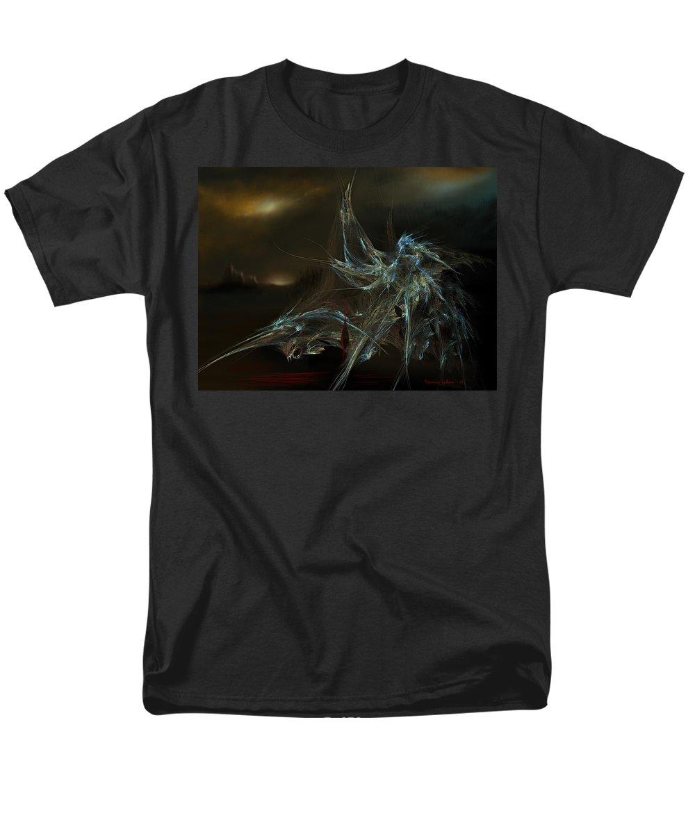 Dragon Warrior Medieval Fantasy Darkness Men's T-Shirt (Regular Fit) featuring the digital art The dragon warrior by Veronica Jackson