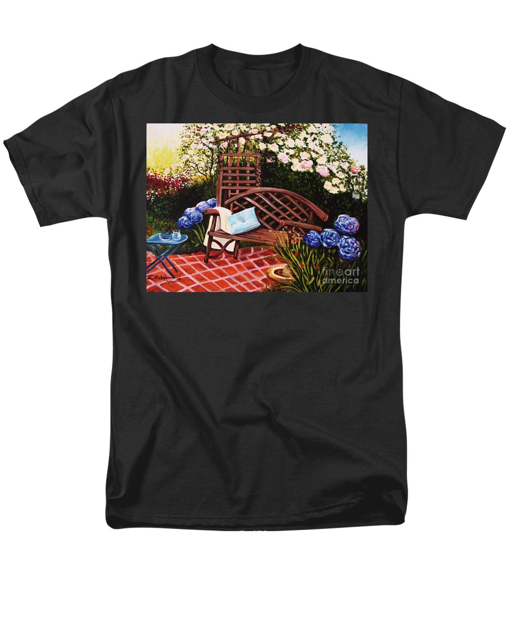 Landscape Men's T-Shirt (Regular Fit) featuring the painting The Garden by Elizabeth Robinette Tyndall