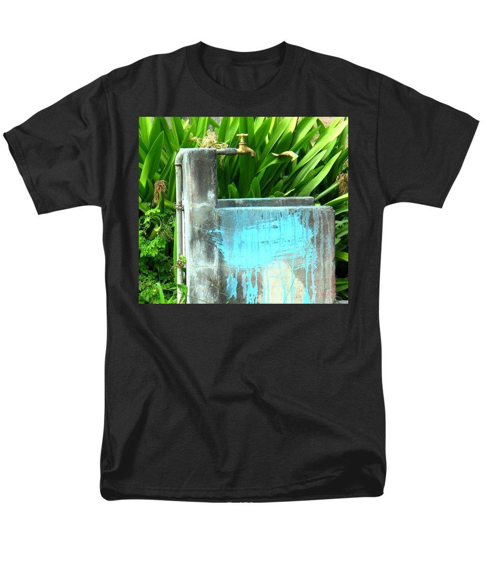 Water Men's T-Shirt (Regular Fit) featuring the photograph The Neighborhood Water Pipe by Ian MacDonald