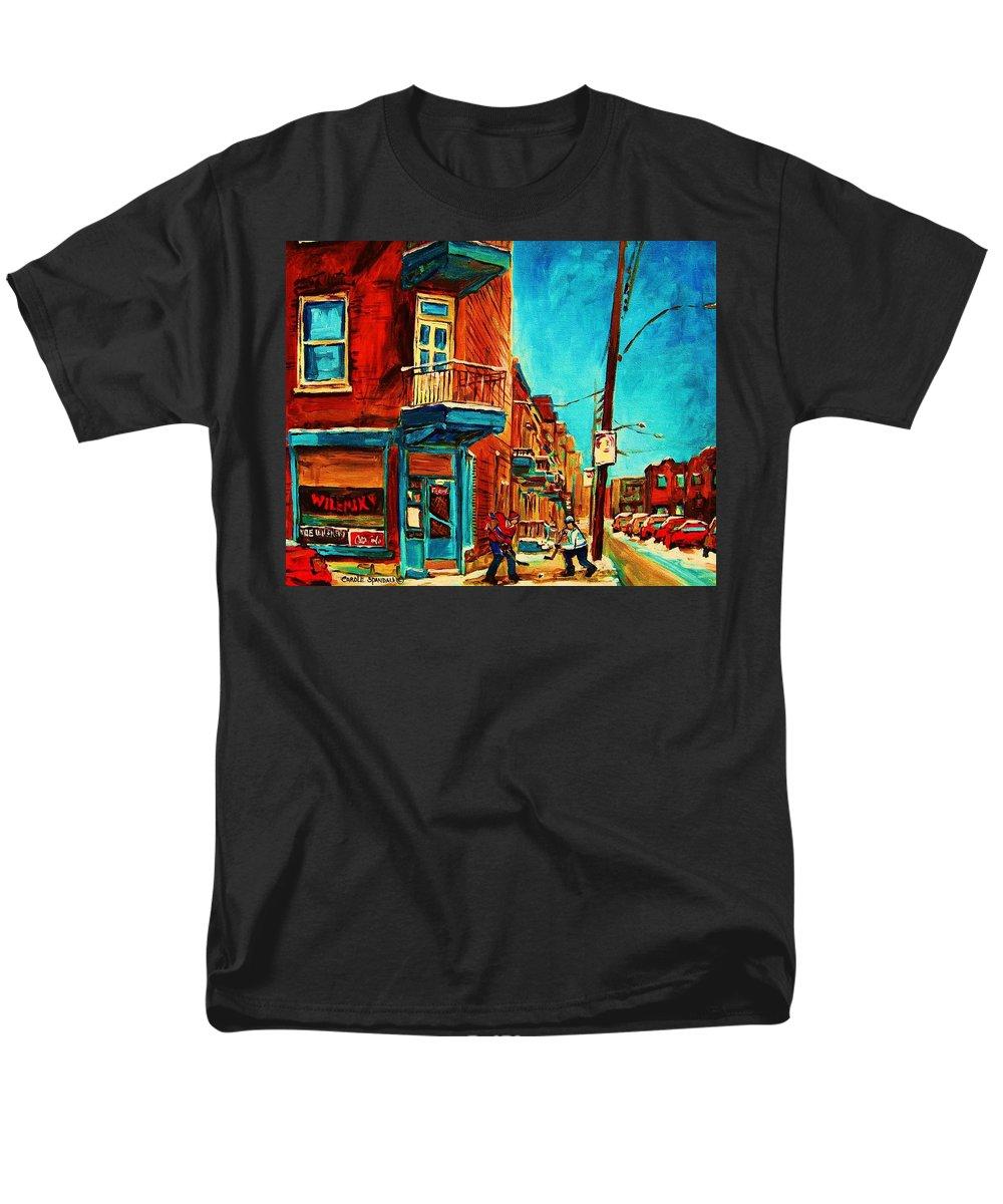 Wilenskys Doorway Men's T-Shirt (Regular Fit) featuring the painting The Wilensky Doorway by Carole Spandau