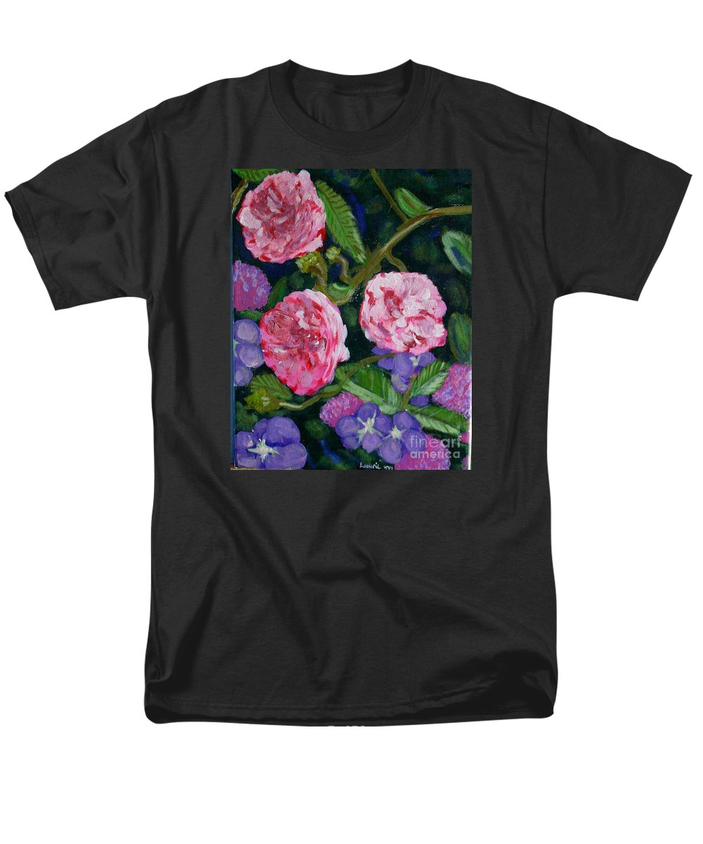 Roses Men's T-Shirt (Regular Fit) featuring the painting Three for the Show by Laurie Morgan