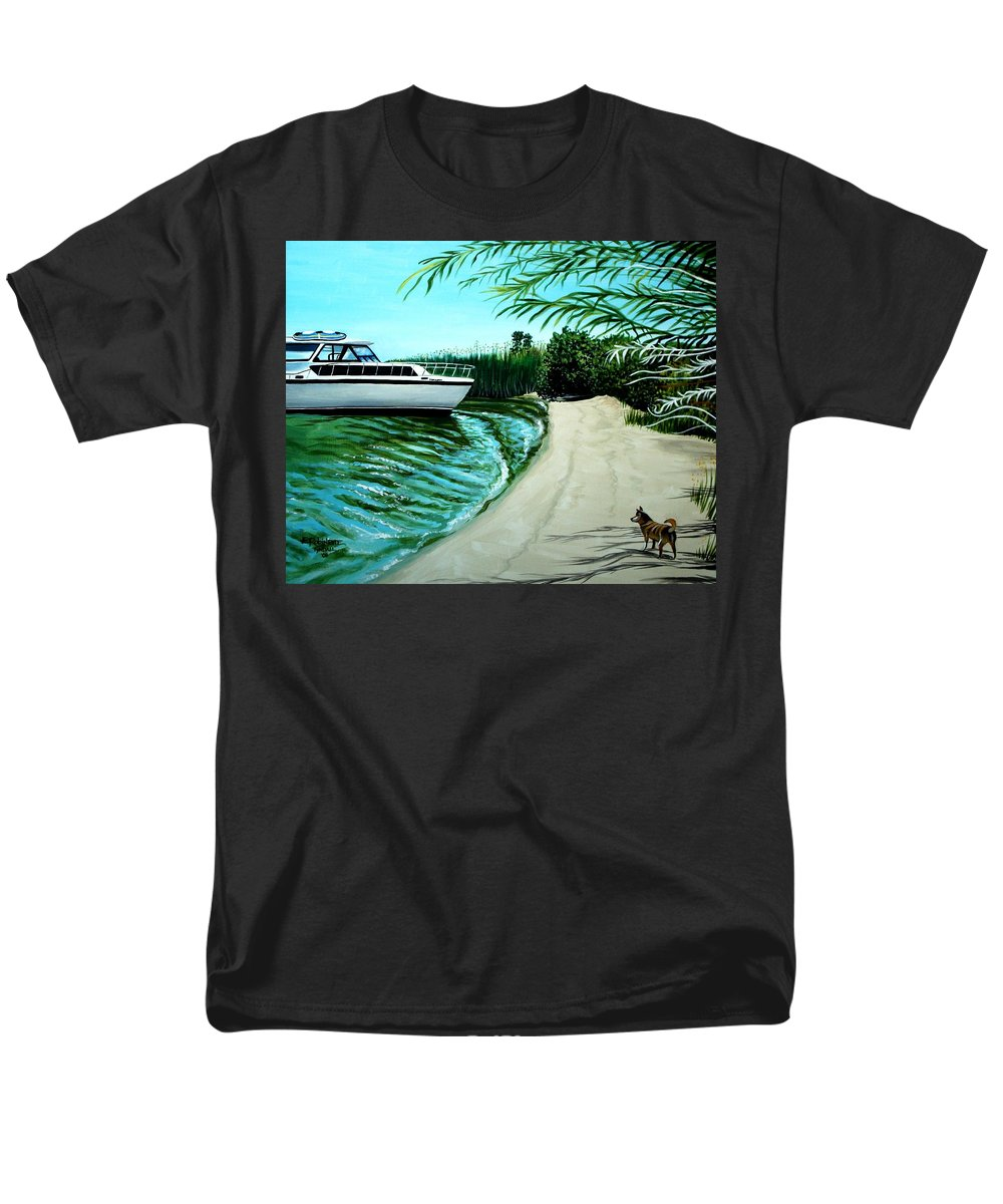 Beach Men's T-Shirt (Regular Fit) featuring the painting Upon Ashore by Elizabeth Robinette Tyndall