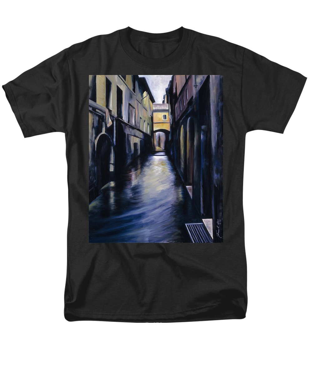 Street; Canal; Venice ; Desert; Abandoned; Delapidated; Lost; Highway; Route 66; Road; Vacancy; Run-down; Building; Old Signage; Nastalgia; Vintage; James Christopher Hill; Jameshillgallery.com; Foliage; Sky; Realism; Oils Men's T-Shirt (Regular Fit) featuring the painting Venice by James Christopher Hill