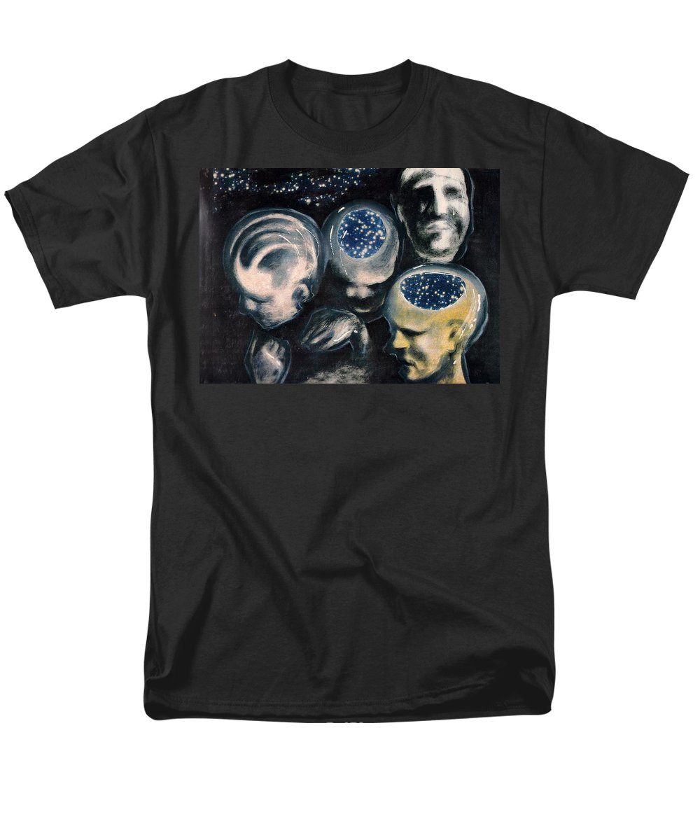 Universe Aura Thoughts Thinking Faces Mistery Men's T-Shirt (Regular Fit) featuring the mixed media We Are Universe by Veronica Jackson