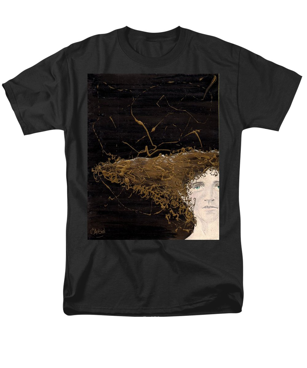 Hair Gold Woman Face Eyes Softness Men's T-Shirt (Regular Fit) featuring the mixed media Woman With Beautiful Hair by Veronica Jackson