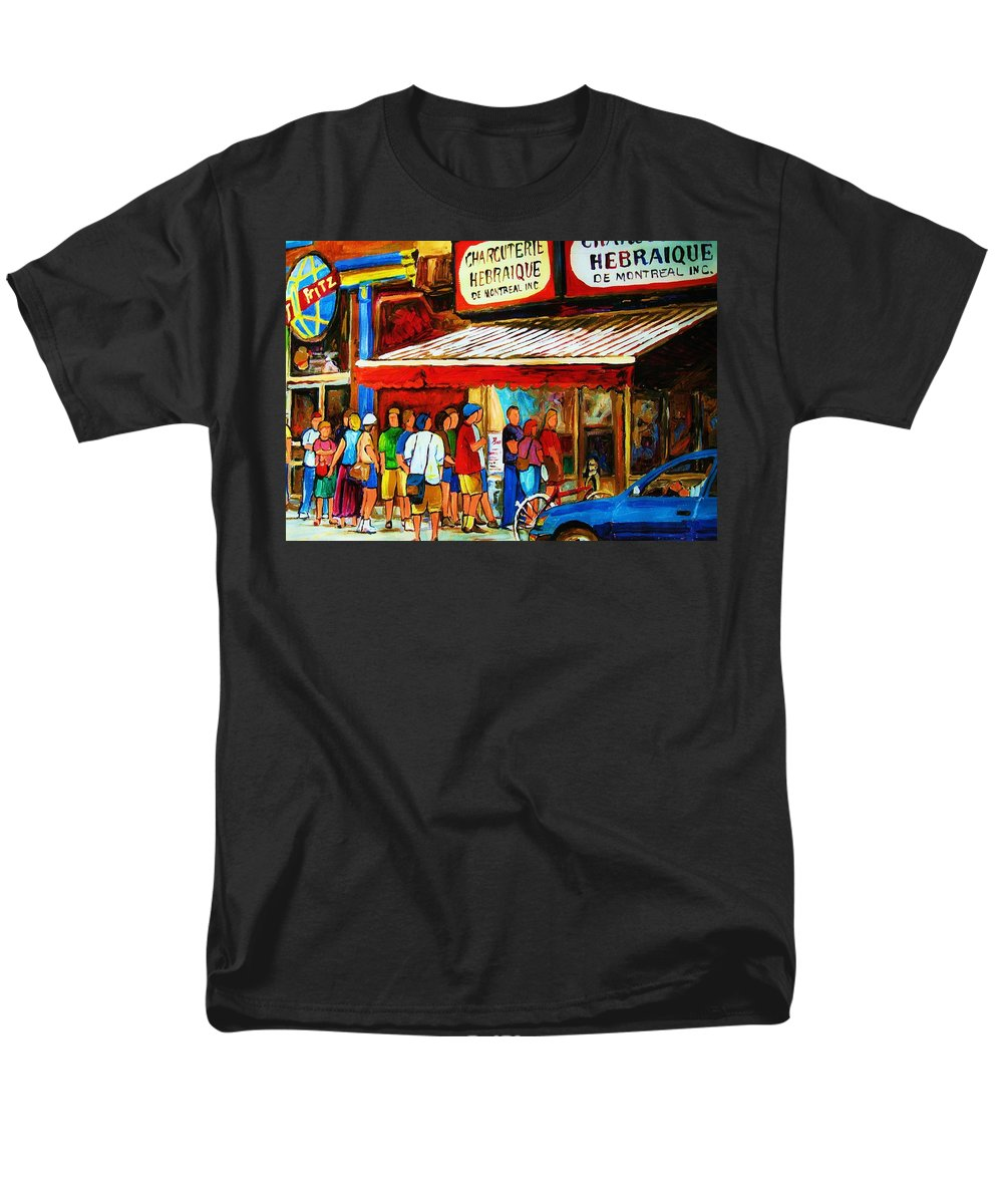 Montreal Streetscenes Men's T-Shirt (Regular Fit) featuring the painting Worth The Wait by Carole Spandau