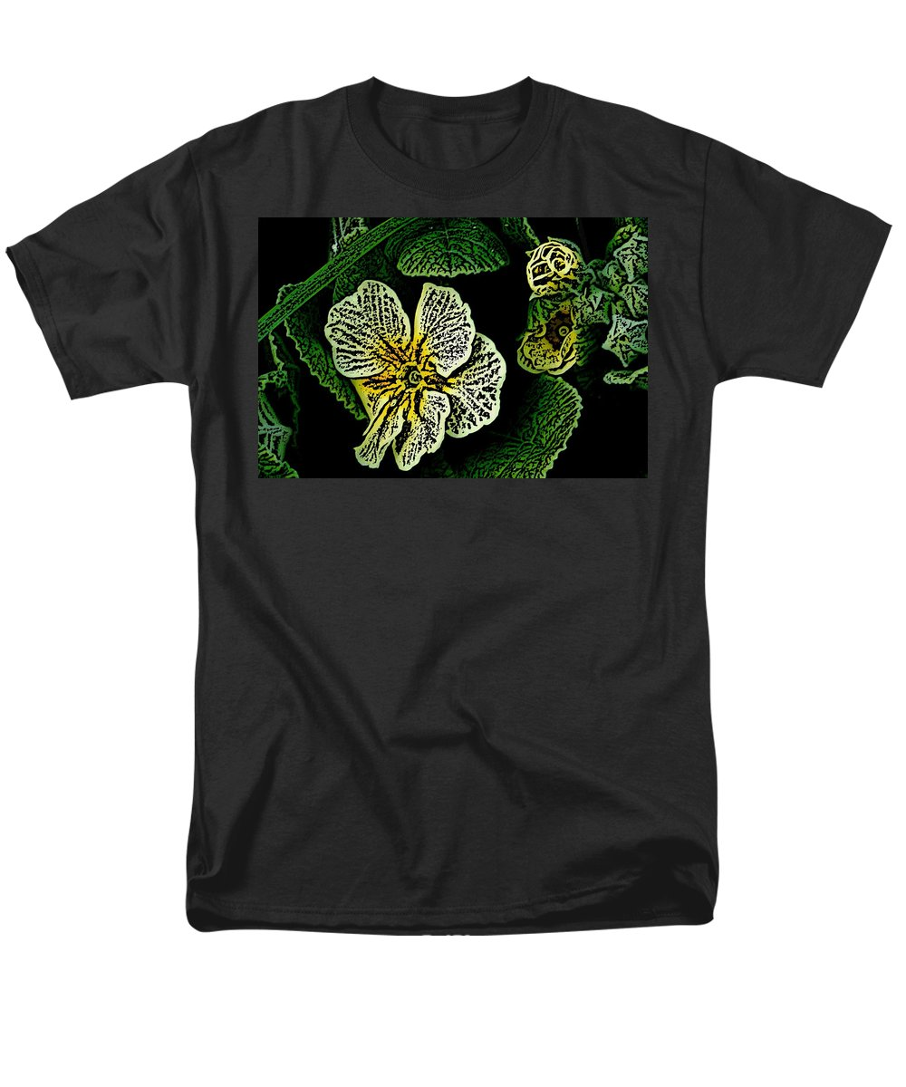 Floral Men's T-Shirt (Regular Fit) featuring the digital art Yellow Flower Woodcut by David Lane