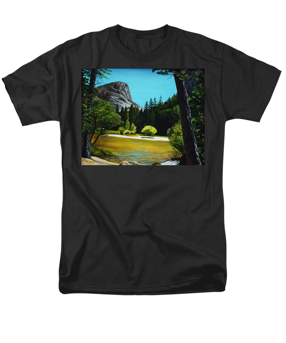 Landscape Men's T-Shirt (Regular Fit) featuring the painting Yosemite's Window by Elizabeth Robinette Tyndall