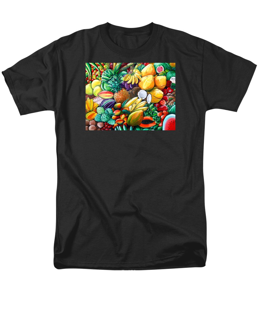Caribbean Fruit Painting Tropical Fruit Painting Caribbean Pineapple Mangoes Bananas Coconut Watermelon Tropical Fruit Painting Men's T-Shirt (Regular Fit) featuring the painting A Taste Of The Islands by Karin Dawn Kelshall- Best