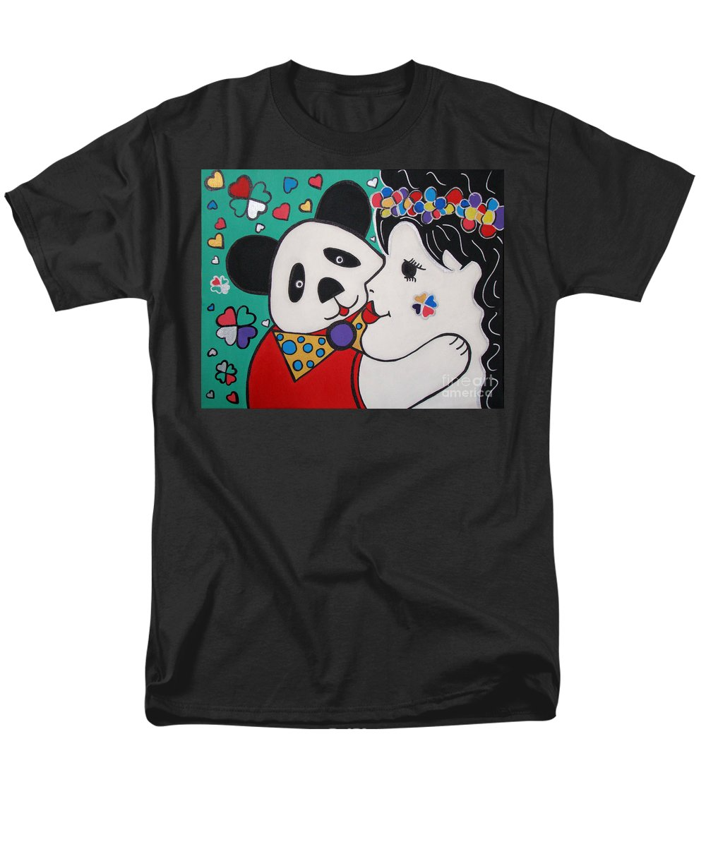 Pop-art Men's T-Shirt (Regular Fit) featuring the painting Bear Hug by Silvana Abel
