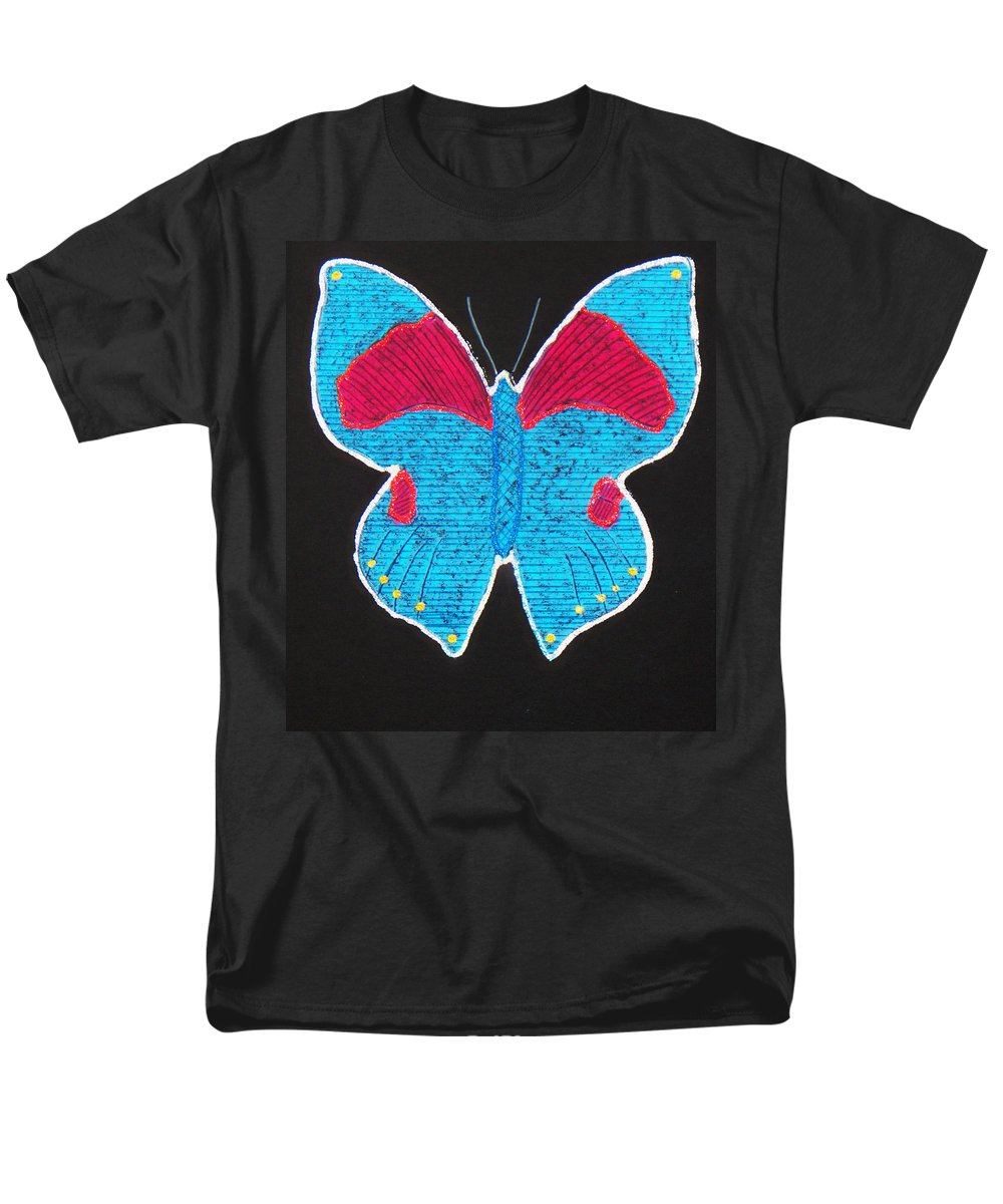 Drawing Men's T-Shirt (Regular Fit) featuring the mixed media Butterfly by Sergey Bezhinets