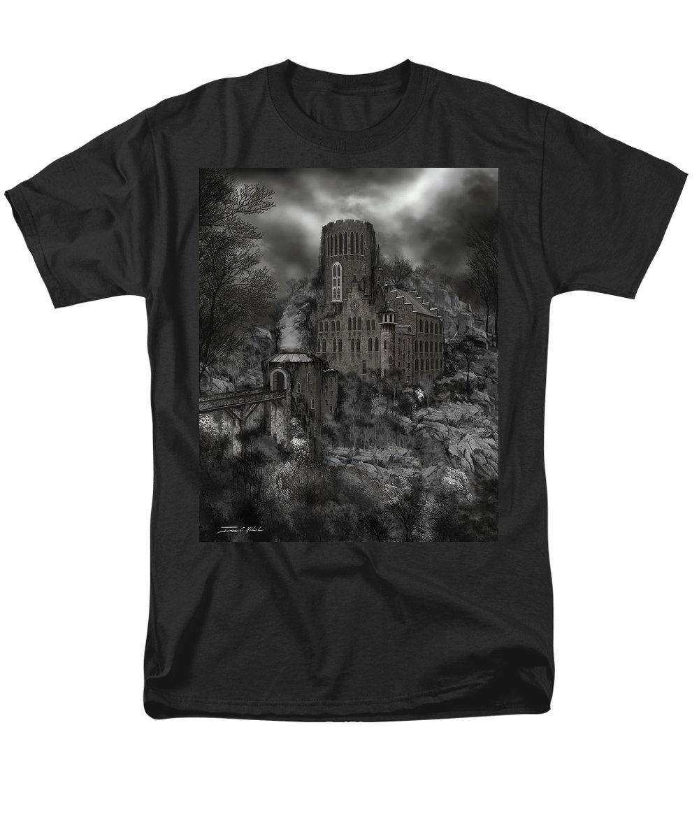 Castle Men's T-Shirt (Regular Fit) featuring the painting Casa Los Diavla by James Christopher Hill