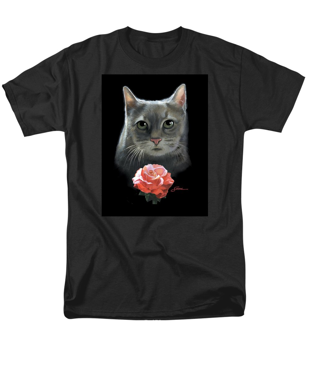 #cat Men's T-Shirt (Regular Fit) featuring the painting Cleo And The Rose by Harold Shull