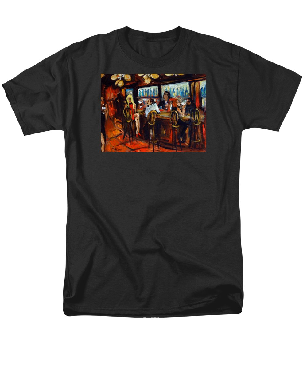 Bar Scene Men's T-Shirt (Regular Fit) featuring the painting Cool Nights by Valerie Vescovi