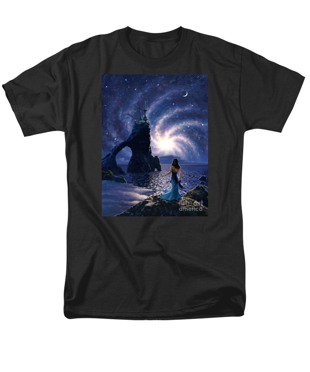 Space Men's T-Shirt (Regular Fit) featuring the painting Far Synura by Stu Shepherd