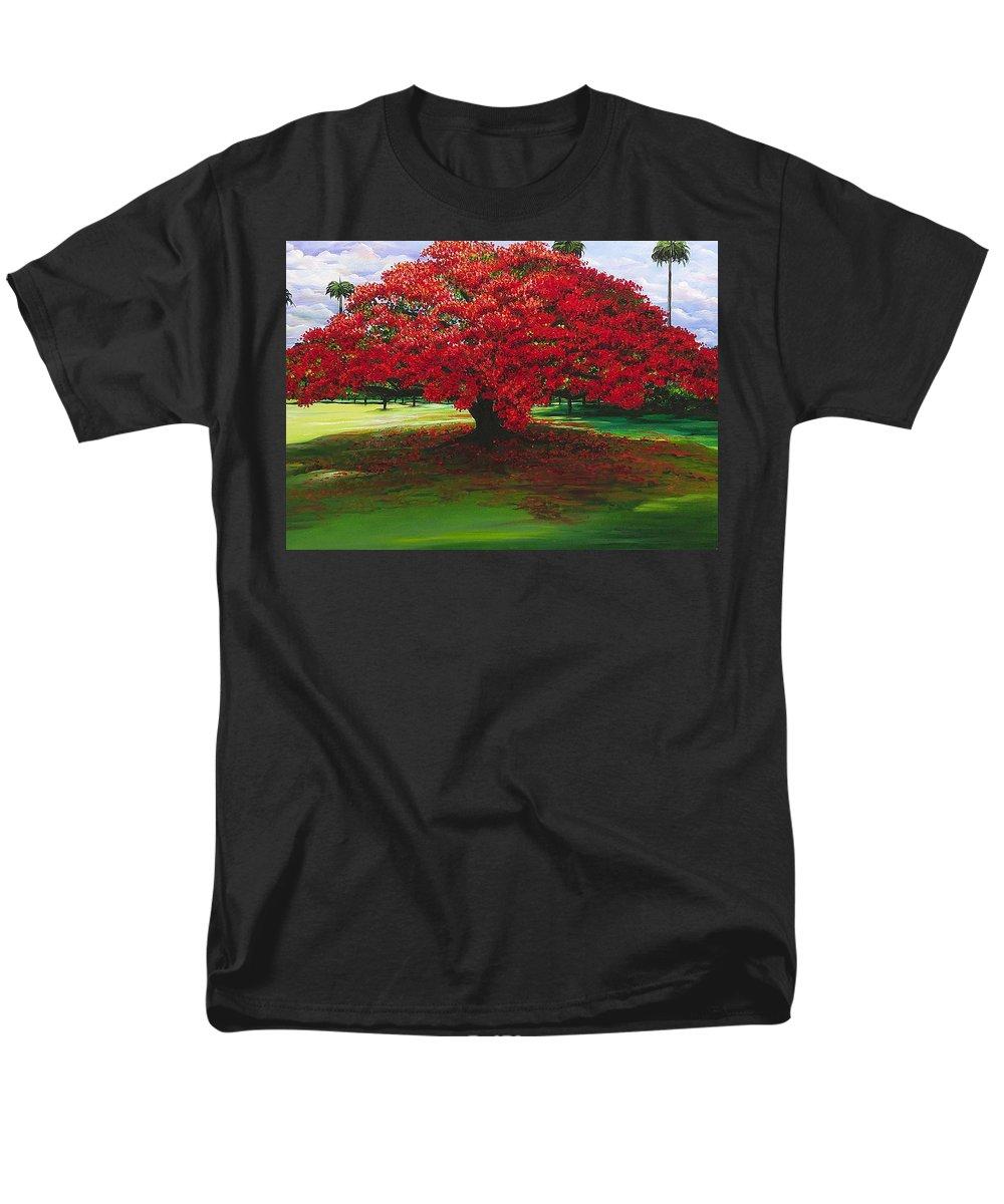 Flamboyant Tree Men's T-Shirt (Regular Fit) featuring the painting Flamboyant Ablaze by Karin Dawn Kelshall- Best