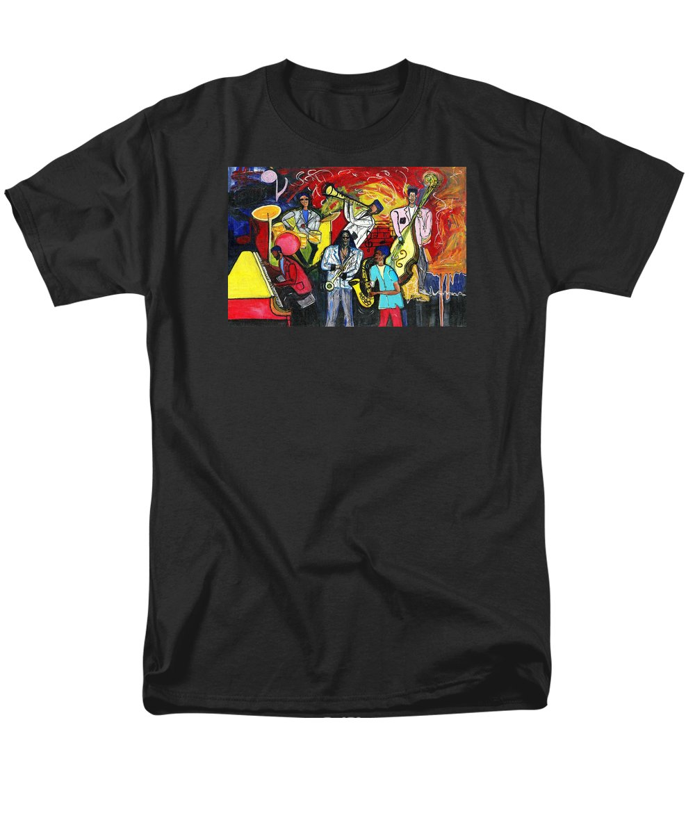 Everett Spruill Men's T-Shirt (Regular Fit) featuring the painting Jazz Abstracts by Everett Spruill