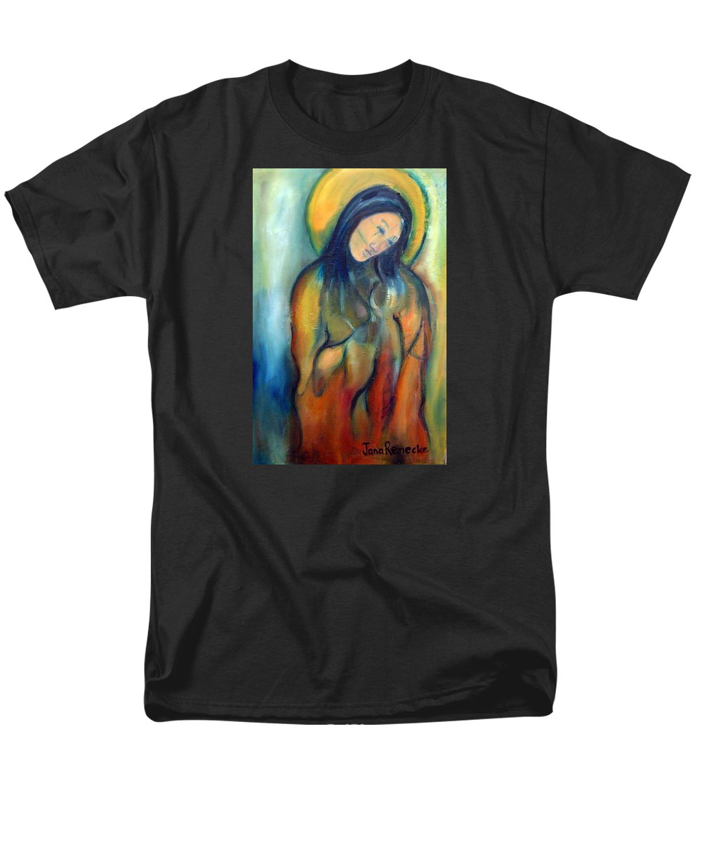 Holiness Men's T-Shirt (Regular Fit) featuring the painting Madonna And Child by Jana Reinecke