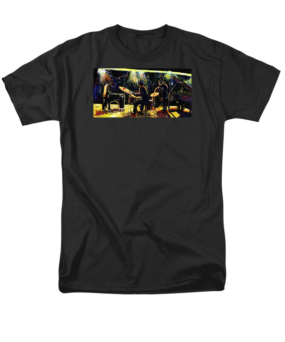 Everett Spruill Men's T-Shirt (Regular Fit) featuring the painting Modern Jazz Quartet take2 by Everett Spruill