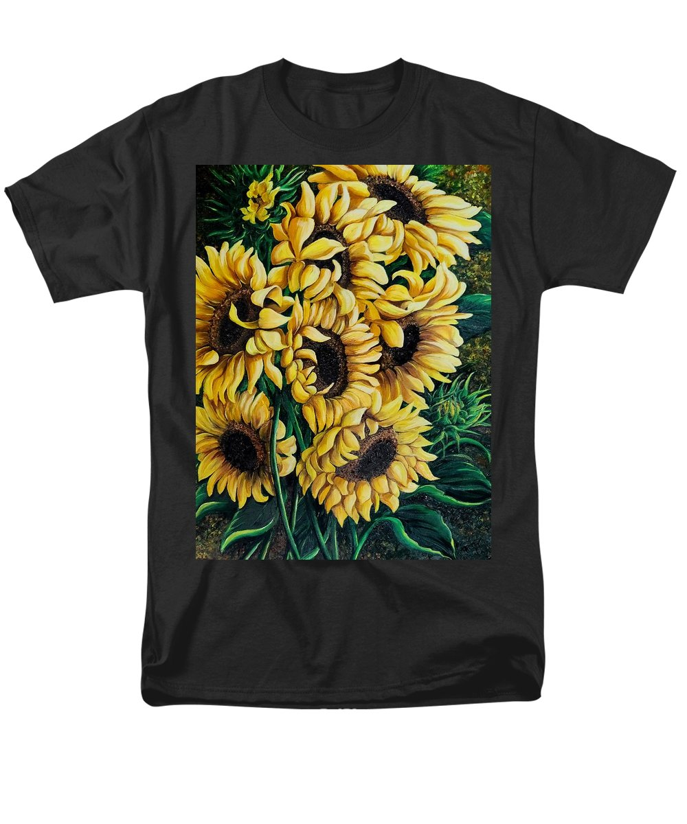 Sunflowers Men's T-Shirt (Regular Fit) featuring the painting My Sunshine by Karin Dawn Kelshall- Best