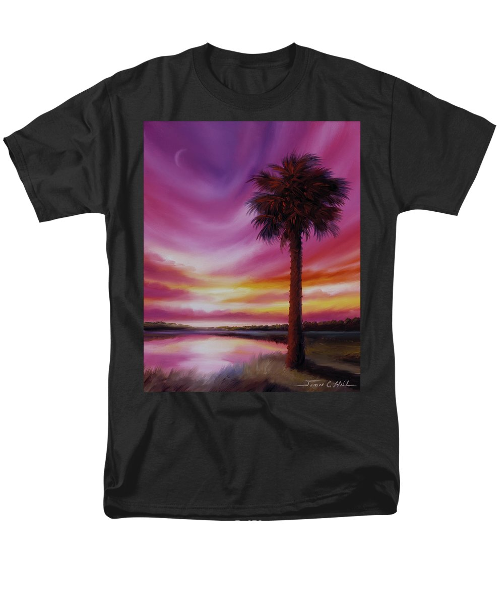 Sunrise Men's T-Shirt (Regular Fit) featuring the painting Palmetto Moon by James Christopher Hill
