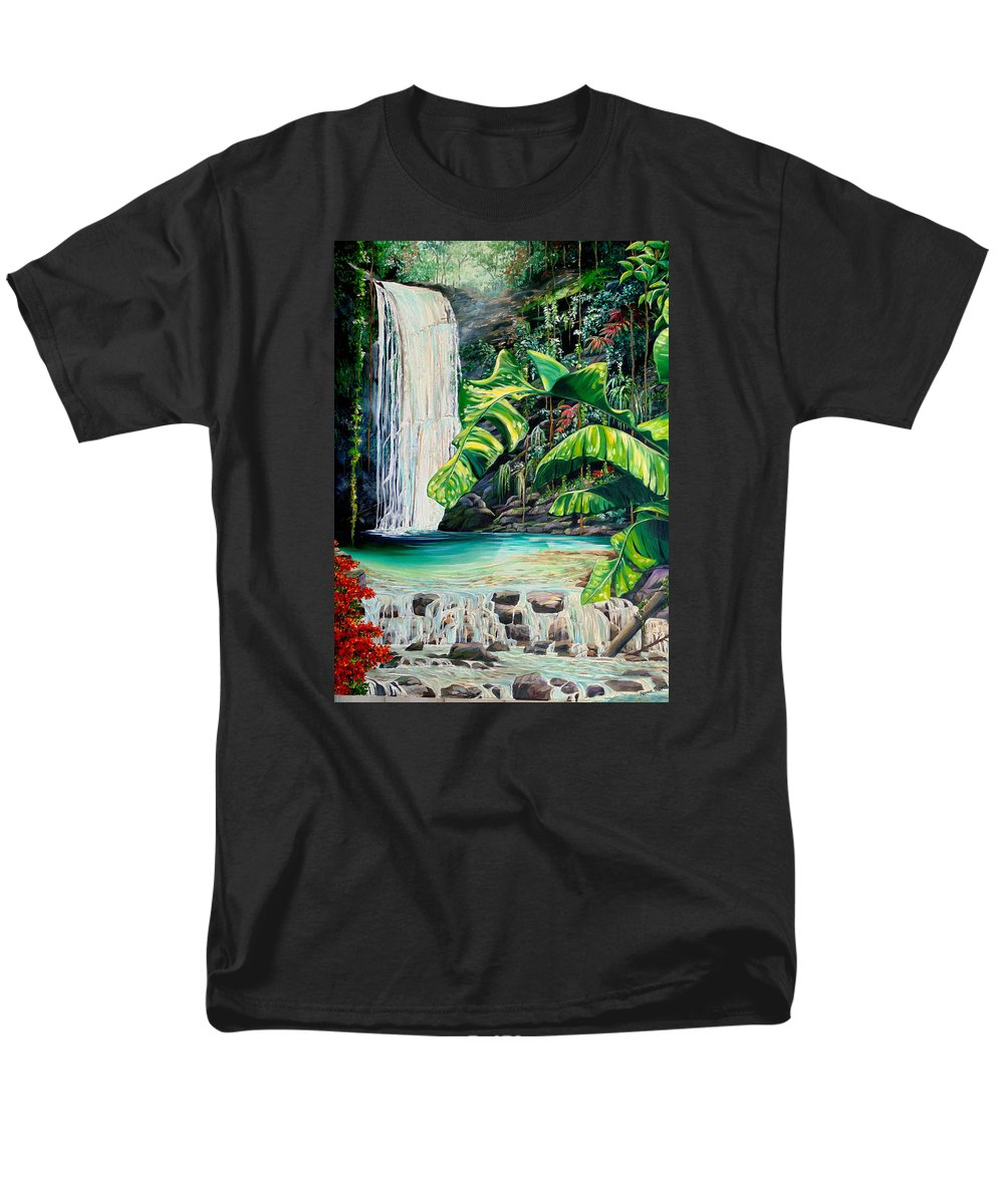 Water Fall Painting Landscape Painting Rain Forest Painting River Painting Caribbean Painting Original Oil Painting Paria Northern Mountains Of Trinidad Painting Tropical Painting Men's T-Shirt (Regular Fit) featuring the painting Rainforest Falls Trinidad.. by Karin Dawn Kelshall- Best