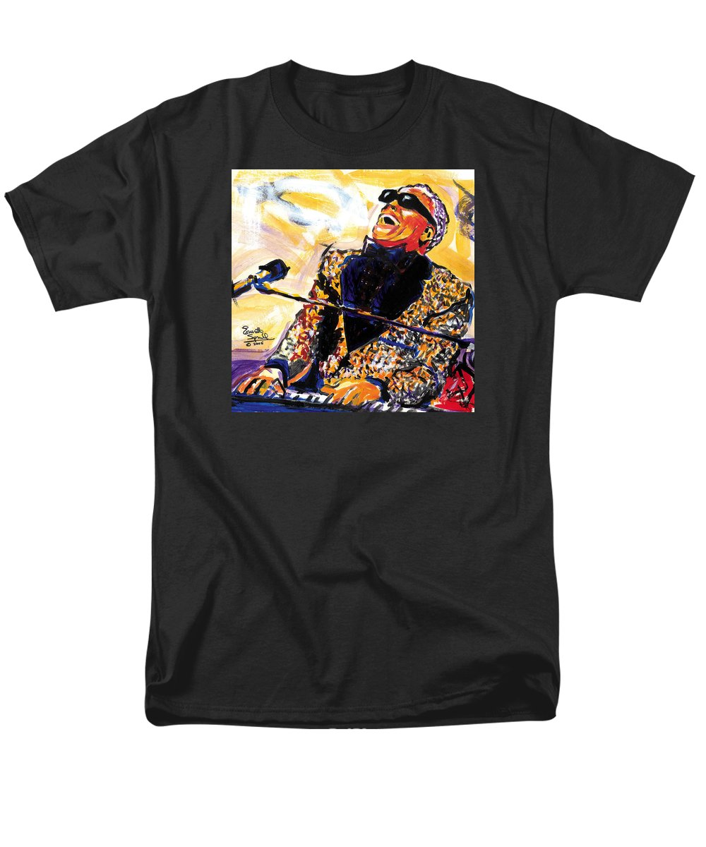 Everett Spruill Men's T-Shirt (Regular Fit) featuring the painting Ray Charles by Everett Spruill