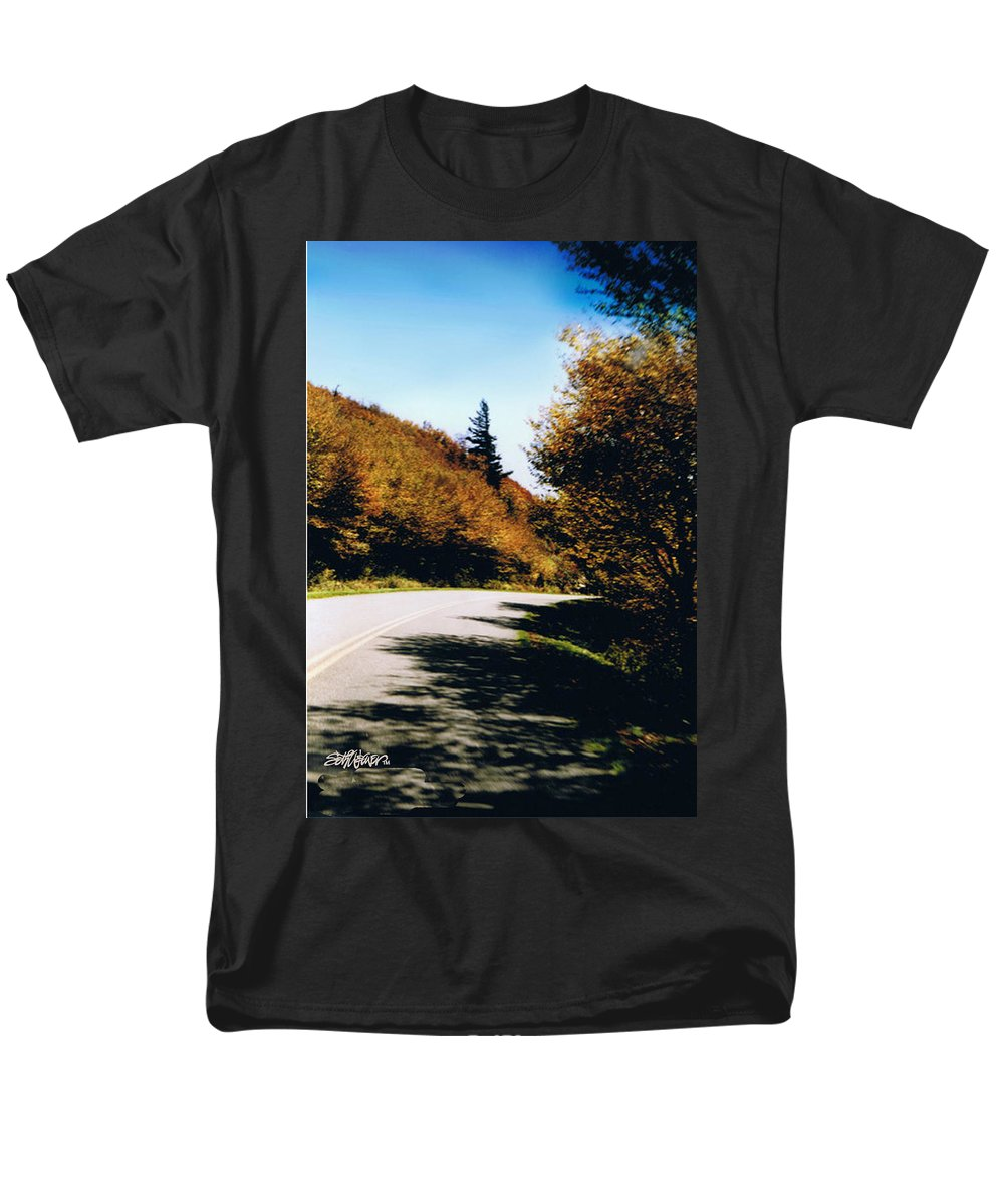 High In The Great Smoky Mtn. As You Round A Curve Stands This Noble Spruce. Men's T-Shirt (Regular Fit) featuring the photograph Single Spruce by Seth Weaver