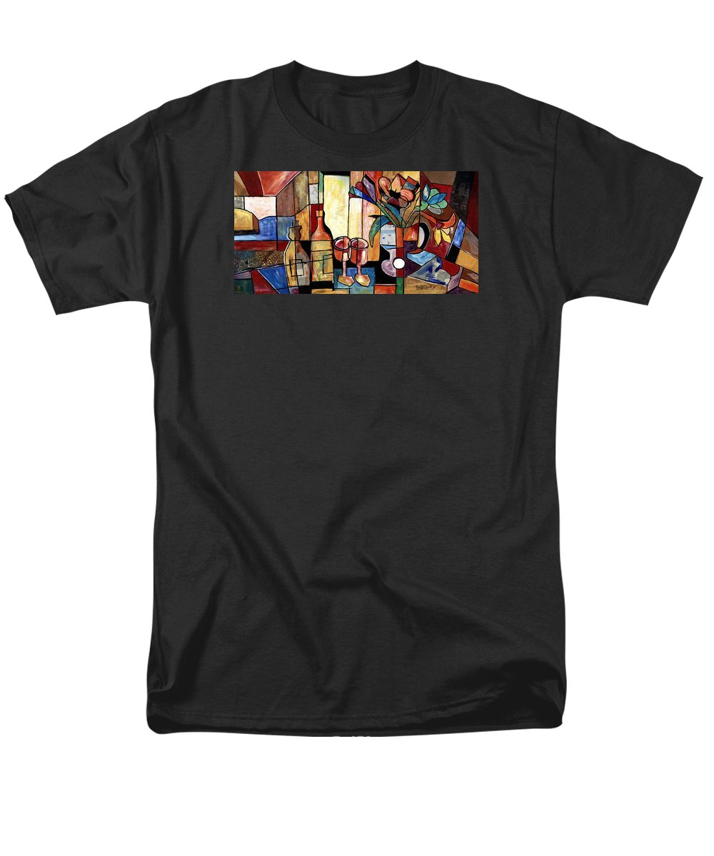 Everett Spruill Men's T-Shirt (Regular Fit) featuring the painting Still Life with Wine and Flowers for two take 2 by Everett Spruill
